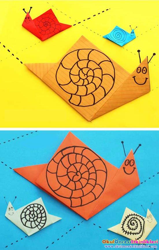 Kagit Katlama Salyangoz Yapalim Origami Okul Oncesi Etkinlikleri