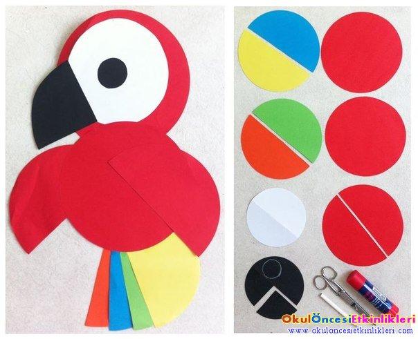 Renkli Daireler Ile Papağan Yapımı Okul öncesi