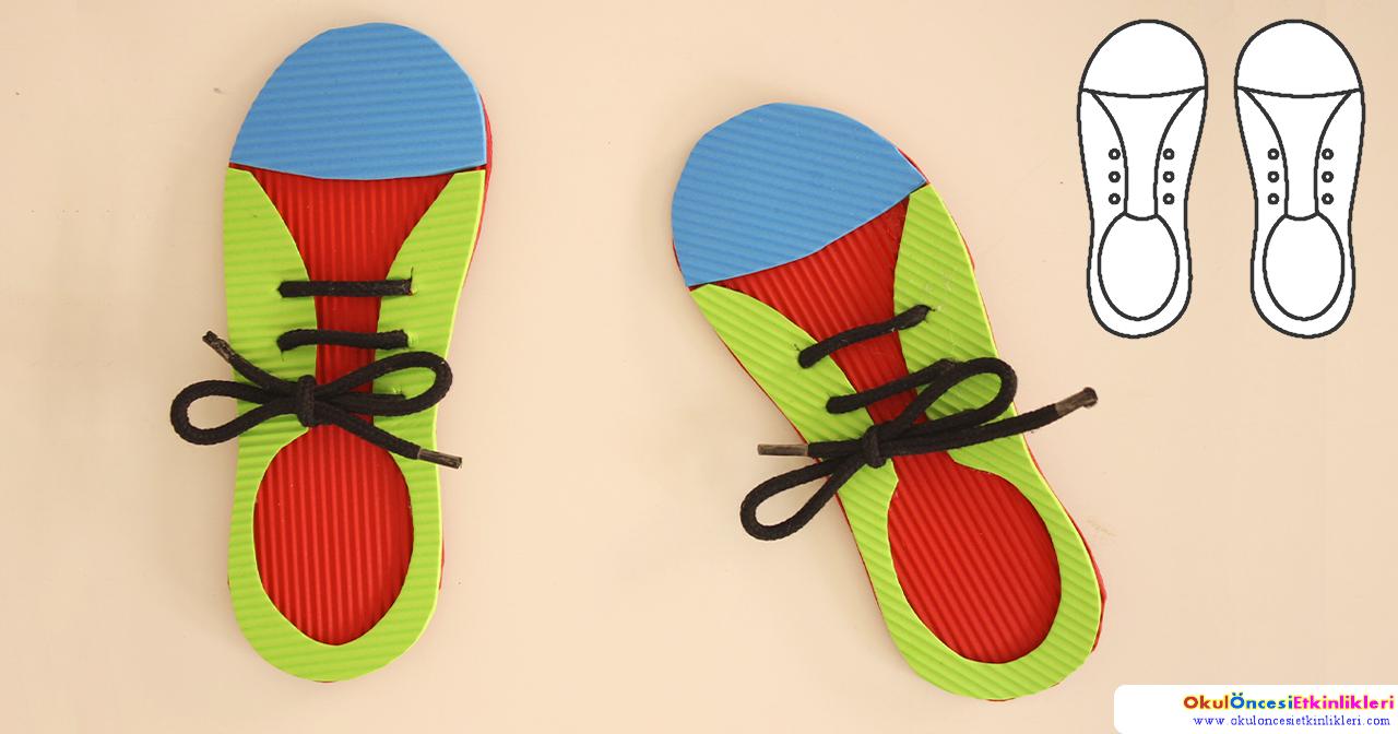 Karton Eva Ayakkabı Ile Bağcık Bağlama Okul öncesi Etkinlikleri