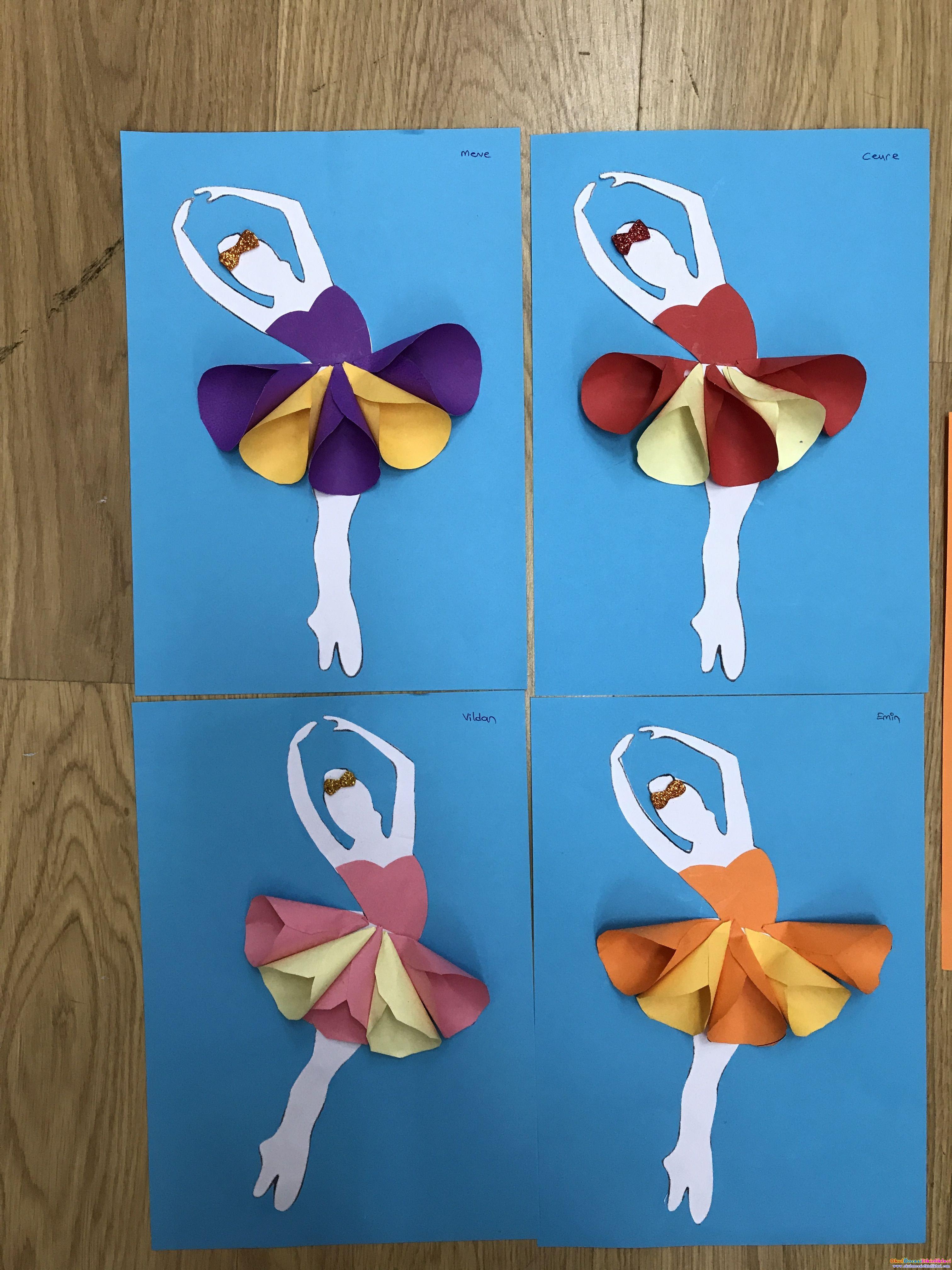 Değişik Renkli Balerin Kızlar Okul öncesi Etkinlikleri